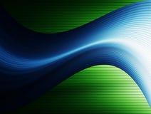 Illustration. Blue waves over green lines background. Illustration Stock Image