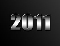 Illustration 2011. 2011 chrome number on black background. Illustration Royalty Free Stock Photos