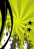 Illustration. In green, black, gray and white: stars, waves, flames and spirals royalty free illustration