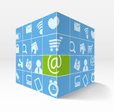 Illustration of 3d cube with icons. Illustration of 3d cube with media icons on its sides Royalty Free Stock Photography