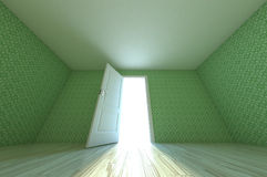 Illustration 3d empty room. Illustration 3d green retro pattern on empty room Stock Images