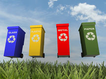 Illustration of 4 recycling containers Stock Photo