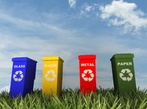 Illustration of 4 recycling containers Stock Photography