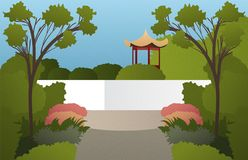 Illustration with abstract asian garden with trees and grass wit Royalty Free Stock Images