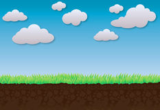Clouds Blue Sky Green Grass and Soil for Background Stock Photo