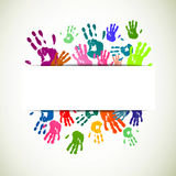 Colorful Handprints. Illustration of an Abstract Background with Colorful Handprints Stock Photography