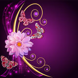 Illustration abstract background with flowers and butterflies Royalty Free Stock Photos