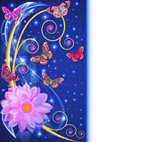 Illustration abstract background with flowers and butterflies wi Royalty Free Stock Image