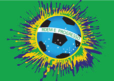 Illustration Abstract background football. Soccer form watercolor in brazil color themes idea design Stock Photography