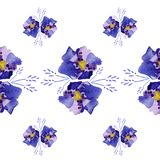 Illustration abstract blue flowers with vibes stock illustration