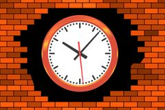 Clock in broken wall. Illustration of the abstract broken brick wall and clock Royalty Free Stock Photo