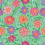 Chinese ink flower color green free style seamless pattern stock illustration