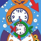 Illustration of abstract clock fish. Vector illustration of abstract fish and clock Stock Photo