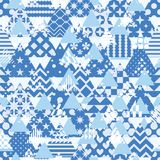 Triangle pattern cut many free symmetry seamless pattern. This illustration is abstract cool blue and white with triangle like a mountain can freedom place at Stock Images