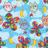 Cat star flower moon zen fly seamless pattern. This illustration is abstract Dorami tail, zen cat fly with star and flower with half moon, morning cloud sky stock illustration