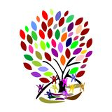 Abstract colorful Family tree. Illustration of abstract family tree design isolated on white background stock illustration