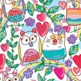 Owl cat smile seamless pattern vector illustration
