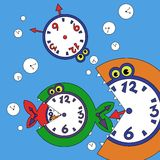 Illustration of abstract fish. Vector illustration of abstract fish and clock Stock Images