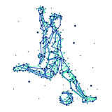 Illustration of abstract football player. On isolated background. Run, kick, attack. Stylized blue silhouettes for design. Football players in motion Stock Images