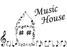 Illustration of an abstract house with music notes. On white Stock Photos