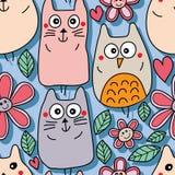 Cat bear owl cute natural seamless pattern Royalty Free Stock Photos