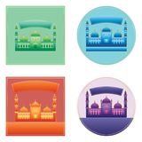 Ramadan Kareem India Delhi color sticker space set Royalty Free Stock Images