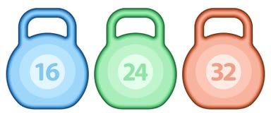 Kettlebell weight set. Illustration of the abstract kettlebell weights set stock illustration