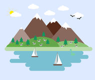 Illustration of abstract landscape. With mountains Royalty Free Stock Images