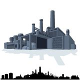 Illustration of Abstract Large Factory. 3D Vector Stock Photo