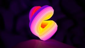 Illustration of an abstract logo neon shape rotation. 3D illustration. Illustration of an abstract logo neon shape rotation Stock Photography