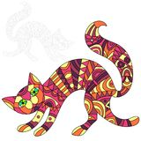 Abstract Illustration of red cat, cat and painted its outline on white background , isolate Stock Photo