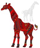 Abstract Illustration of  red giraffe, animal and painted its outline on white background , isolate Stock Image