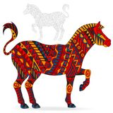 Abstract Illustration of red Zebra, animal and painted its outline on white background , isolate Royalty Free Stock Images