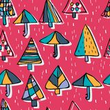 Tree umbrella style free drawing rain seamless pattern. This illustration is abstract same function shelter tree and umbrella with free drawing same look in Royalty Free Stock Image