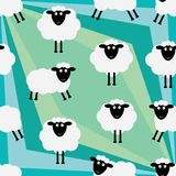 Sheep unknown green field seamless pattern. This illustration is abstract sheep meet the unusual why want start left end right corner diagonal like diamond shape Stock Images