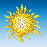 Illustration of abstract sun simulated cracked glass royalty free illustration