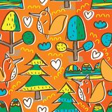 Three natural fox free drawing seamless pattern. This illustration is abstract theme three with mountain peaks, pine, tree and decoration fox in orange color Stock Photos