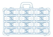 Abstract suitcase icon. Illustration of the abstract transparent suitcase with dollars Stock Photos