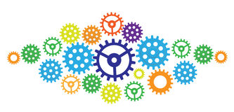 Illustration of abstract web design with copy space in cog wheel. Vector set. Gear, cog, sprocke and plant Stock Images