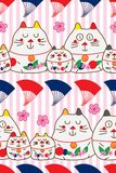 Zen cat Maneki look fan horizontal seamless pattern. This illustration is abstract zen cat with Maneki Neko look, fan and cherry Sakura flower decoration in Royalty Free Stock Photos