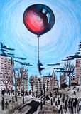 Illustration of abstraction. Silhouette of a young girl, hovers in black, gray city, and holds a large red balloon floating in the Stock Images