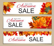 Illustration abstraite Autumn Sale Banner Background de vecteur avec Image stock