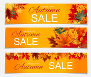 Illustration abstraite Autumn Sale Banner Background de vecteur avec Images stock