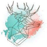 Illustration abstraite avec bas poly cher sur l'aquarelle bleue et rose Photographie stock