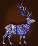 Illustration abstraite avec des cerfs communs sur un fond floral de brun foncé Photo libre de droits