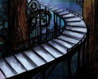 Illustration abstraite avec le long escalier Photo libre de droits
