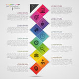 Illustration abstraite colorée plate de vecteur d'infographics de chronologie avec le rectangle Photos libres de droits