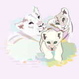 Illustration abstraite d'aquarelle d'une famille heureuse de lion illustration stock