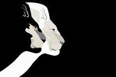 Illustration abstraite d'aquarelle de tête de deux lions Photographie stock libre de droits