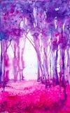Illustration abstraite d'aquarelle d'un beau rose et d'un paysage pourpre de forêt d'été illustration libre de droits
